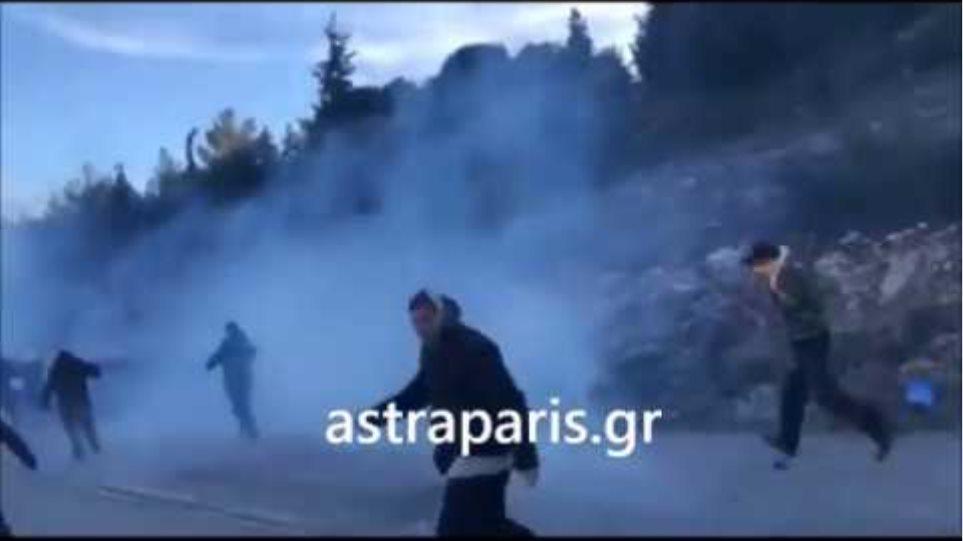 Σφοδρή επίθεση των ΜΑΤ στο Φλώρι του Αίπους, στη Χίο