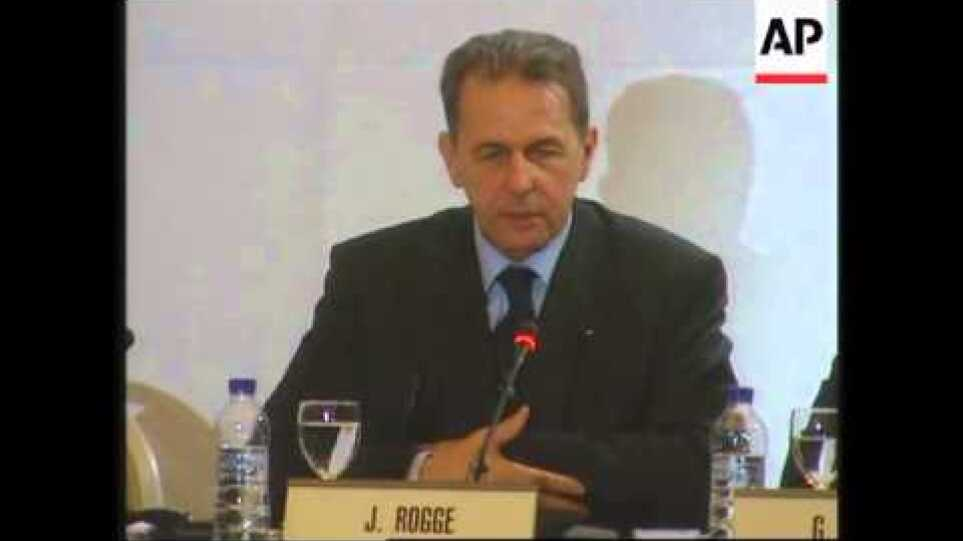 Rogge comments on Athens at end of IOC conference