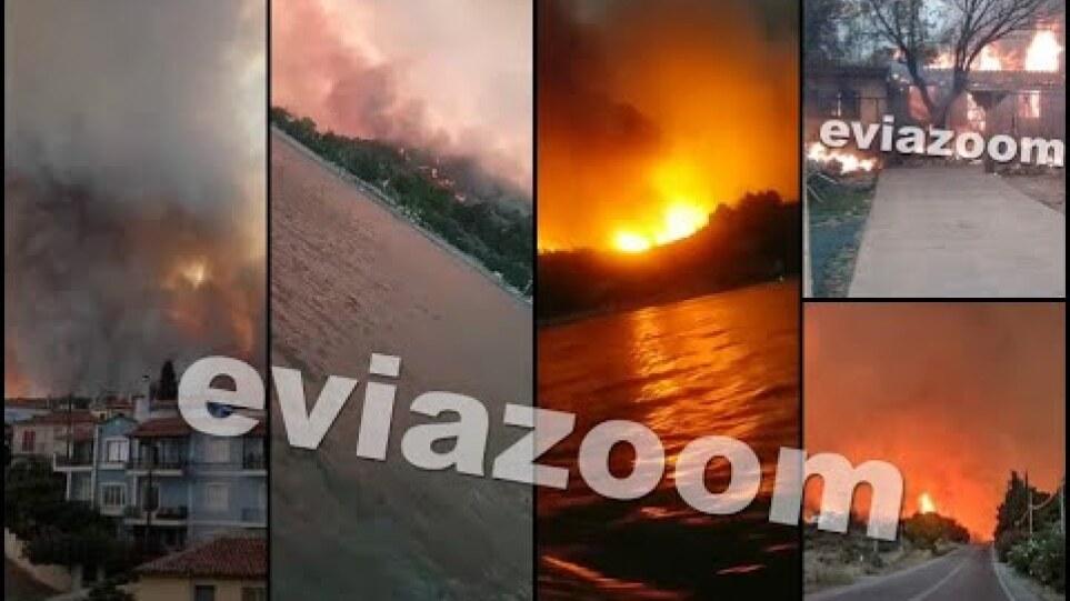 EviaZoom - Βόρεια Εύβοια: Πύρινη κόλαση στη Λίμνη, κάηκαν σπίτια  - Οι φλόγες σταμάτησαν στη θάλασσα
