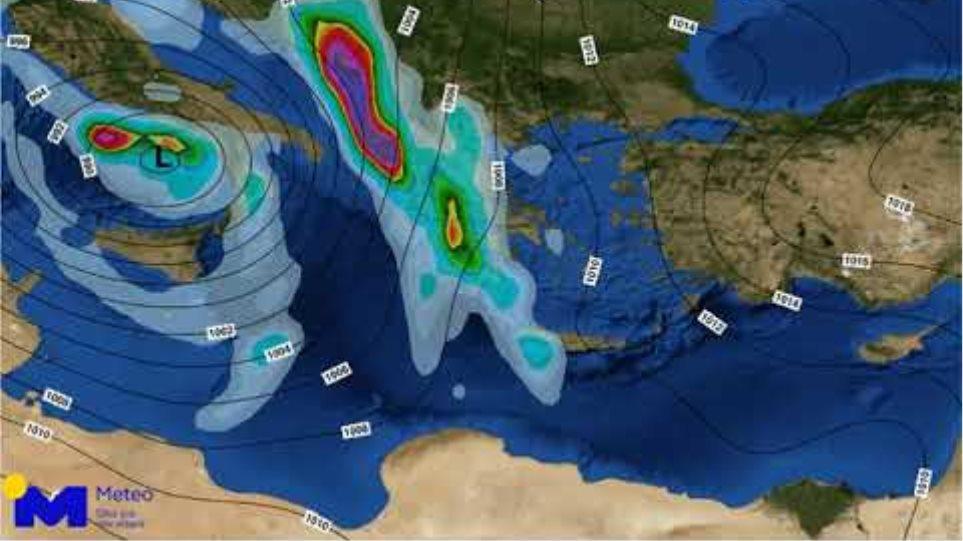 Meteo.gr: Κακοκαιρία Βικτώρια. Η πορεία του χαμηλού και βροχόπτωση