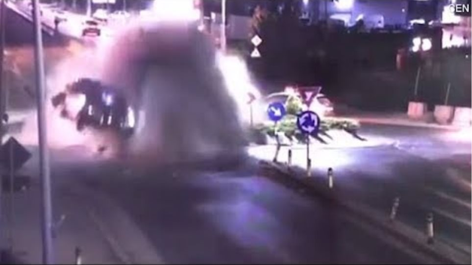 Suspected drunk driver hits roundabout at speed