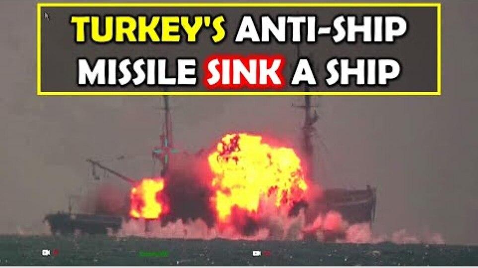 Viral Video: Turkey's anti ship missile Atmaca, Sink a Ship.
