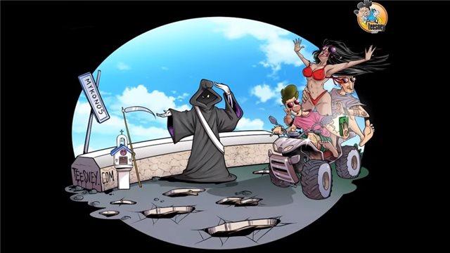 Η θλιβερή πραγματικότητα στους δρόμους της Μυκόνου μέσα από ένα σκίτσο