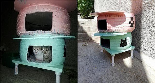 Λήμνος: Σπιτάκια από λάστιχα αυτοκινήτου για τις αδέσποτες γάτες!