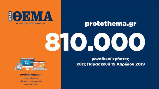 810.000 μοναδικοί χρήστες ενημερώθηκαν χθες Παρασκευή 19 Απριλίου από το protothema.gr
