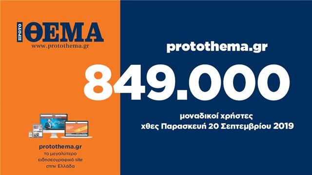 849.000 ΜΟΝΑΔΙΚΟΙ ΧΡΗΣΤΕΣ ΕΝΗΜΕΡΩΘΗΚΑΝ ΧΘΕΣ ΠΑΡΑΣΚΕΥΗ 20 ΣΕΠΤΕΜΒΡΙΟΥ ΑΠΟ ΤΟ PROTOTHEMA.GR