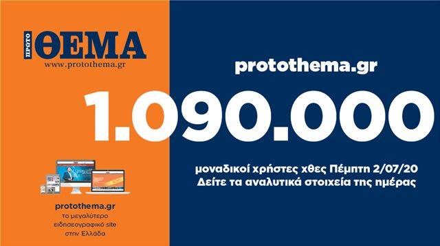 1.090.000 ΜΟΝΑΔΙΚΟΙ ΧΡΗΣΤΕΣ ΕΝΗΜΕΡΩΘΗΚΑΝ ΧΘΕΣ ΠΕΜΠΤΗ 2 ΙΟΥΛΙΟΥ ΑΠΟ ΤΟ PROTOTHEMA.GR