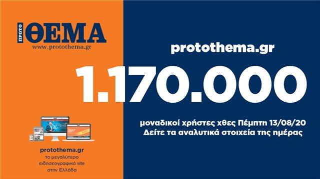 1.170.000 μοναδικοί χρήστες ενημερώθηκαν χθες Πέμπτη 13 Αυγούστου από το protothema.gr