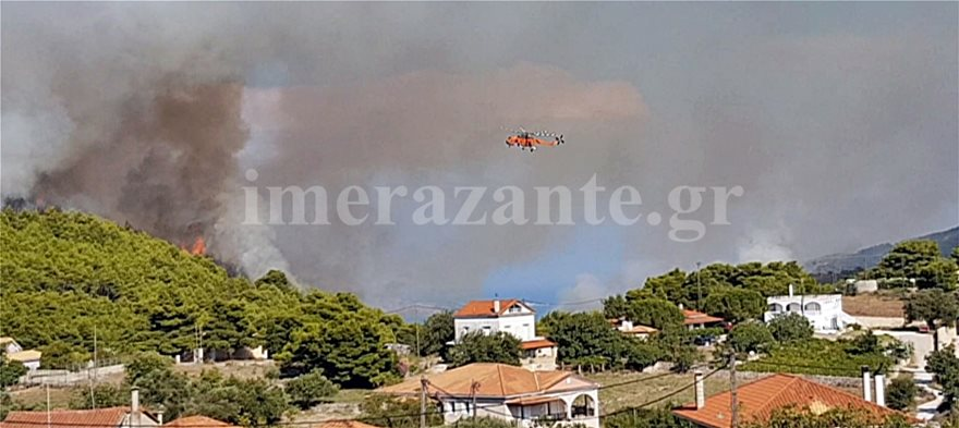z003  Πύρινη λαίλαπα στη Ζάκυνθο από δύο φωτιές σε Μαχαιράδο και Κοιλιωμένο z003